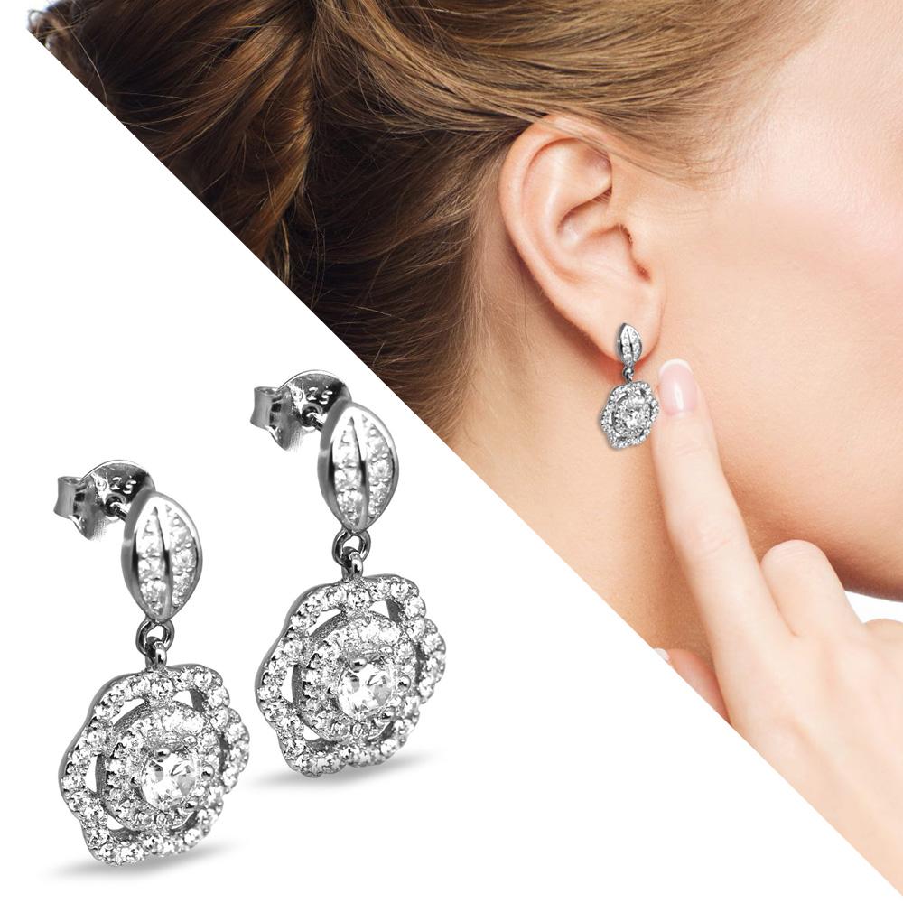 Zirkon Taşlı Yaprak ve Çiçek Tasarım 925 Ayar Gümüş Küpe