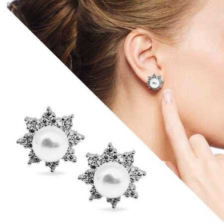 Tesbihane - İnci-Zirkon Taşlı Yıldız Tasarım 925 Ayar Gümüş Küpe
