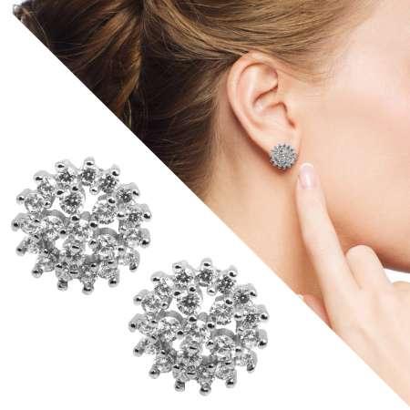 Tesbihane - Zirkon Taşlı Çiçek Tasarım 925 Ayar Gümüş Küpe