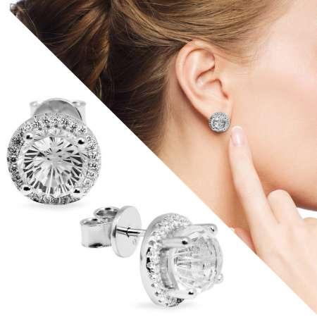 Tesbihane - Zirkon Taşlı Kristal Tasarım 925 Ayar Gümüş Küpe