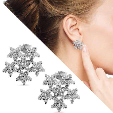 Tesbihane - Zirkon Taşlı 6'lı Yıldız Tasarım 925 Ayar Gümüş Küpe