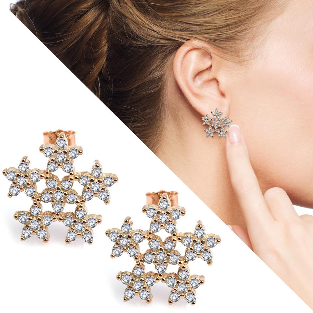 Zirkon Taşlı 6'lı Yıldız Tasarım Gold Renk 925 Ayar Gümüş Küpe
