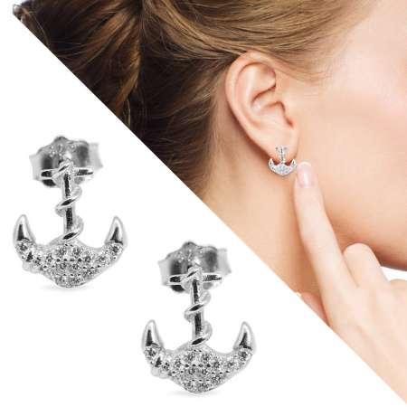 Tesbihane - Zirkon Taşlı Çapa Tasarım 925 Ayar Gümüş Küpe