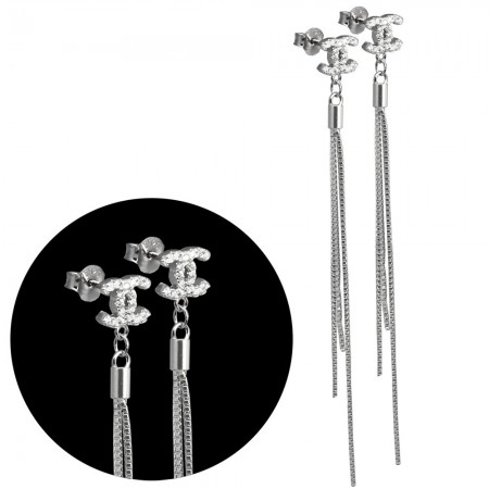 Tesbihane - Zirkon Taşlı Zincirli 925 Ayar Gümüş Küpe