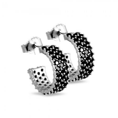 Tesbihane - Siyah Zirkon Taşlı Yarım Tur Gümüş Renk 925 Ayar Gümüş Küpe