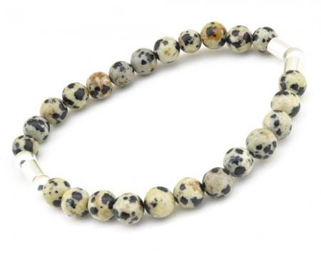 Tesbihane - 925 Ayar Gümüş Küre Kesim Jasper Doğaltaş Bileklik