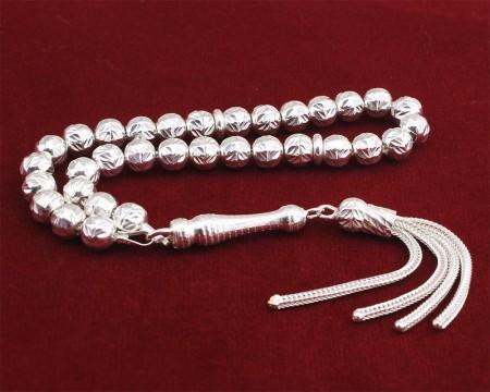 - 925 Ayar Gümüş Küre Kesim Tesbih