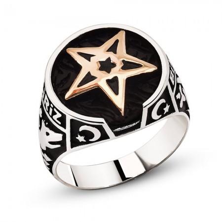 Tesbihane - Ayyıldız ve Kayı Boyu İşlemeli 925 Ayar Gümüş Kutul-Amâre Yüzüğü