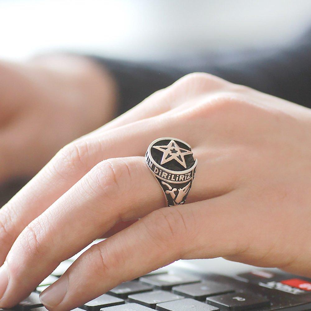 Ayyıldız ve Kayı Boyu İşlemeli 925 Ayar Gümüş Kutul-Amâre Yüzüğü