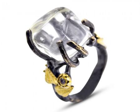 Tesbihane - 925 Ayar Gümüş Kuvars Taşlı Yüzük (Model-2)