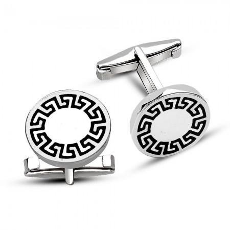 Tesbihane - 925 Ayar Gümüş Labirent Tasarım Kol Düğmesi