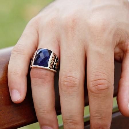 Tesbihane - 925 Ayar Gümüş Lacivert Zirkon Taşlı Barbaros Yüzüğü