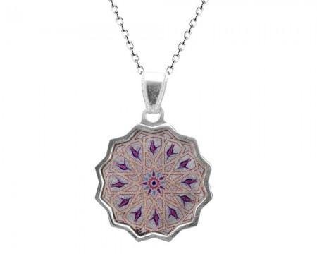 Tesbihane - 925 Ayar Gümüş Lale Desenli Kolye