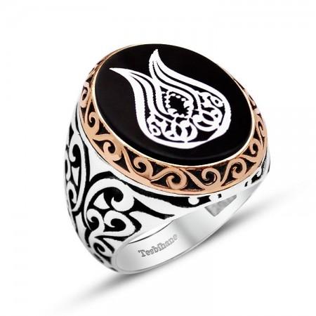 Tesbihane - 925 Ayar Gümüş Lale Desenli Oniks Taşlı Yüzük