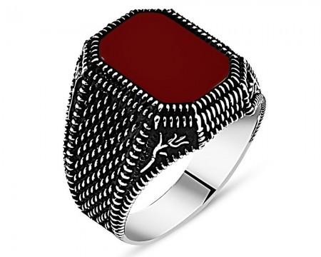 - Lale İşlemeli Kırmızı Akik Taşlı 925 Ayar Gümüş Erkek Yüzük