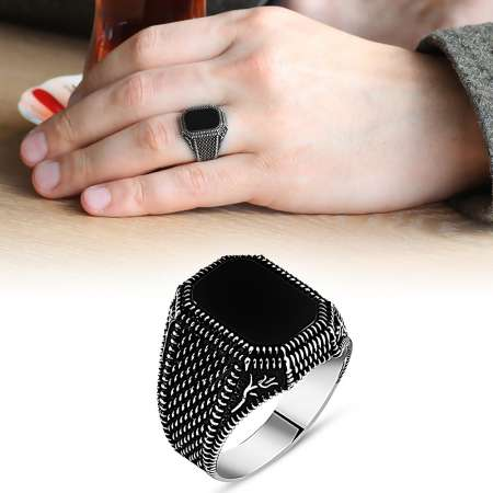 Lale İşlemeli Siyah Oniks Taşlı 925 Ayar Gümüş Erkek Yüzük - Thumbnail