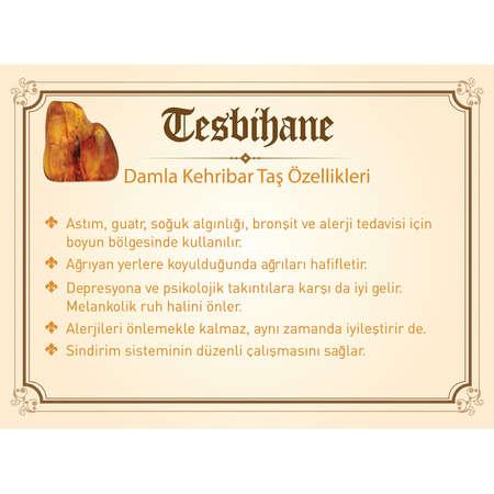 925 Ayar Gümüş Lale Püsküllü Özel Kesim Su Damlası Kehribar Tesbih - Thumbnail