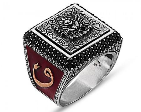 Tesbihane - 925 Ayar Gümüş Laleli Vav Detaylı Osmanlı Arma İşlemeli Yüzük