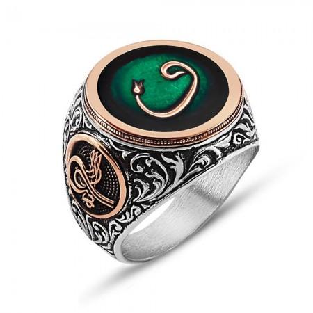 - 925 Ayar Gümüş Laleli Vav İşlemeli Yeşil Mineli Yüzük