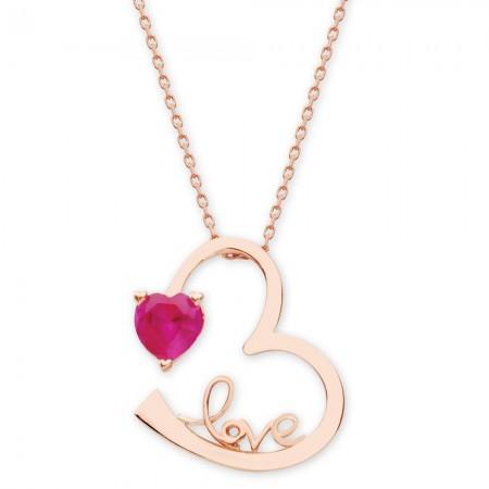 - 925 Ayar Gümüş Love Yazılı Kalpli Kolye