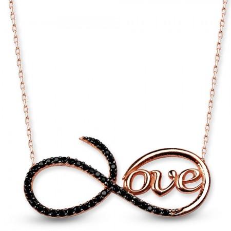 - 925 Ayar Gümüş Love Yazılı Sonsuzluk Kolye