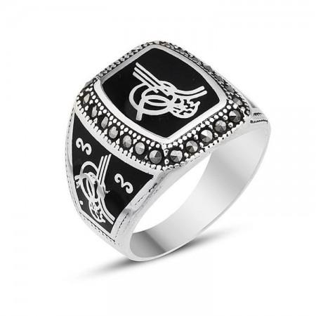 - 925 Ayar Gümüş Markazit Taşlı Tuğralı Yüzük