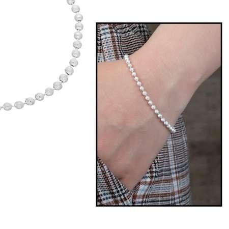 Tesbihane - 925 Ayar Gümüş Mat Ball Chain Bayan Zincir Bileklik