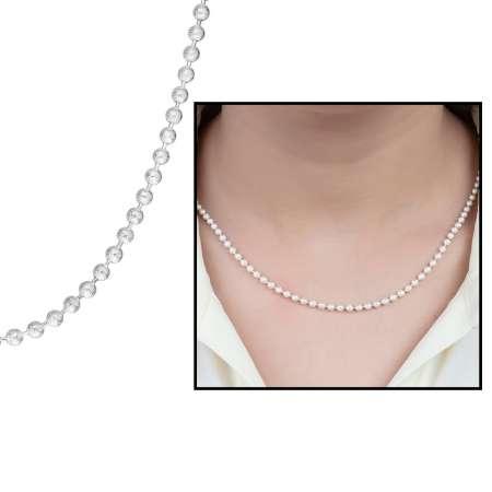 Tesbihane - 925 Ayar Gümüş Mat Ball Chain Bayan Zincir Kolye