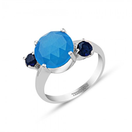 Tesbihane - 925 Ayar Gümüş Mavi 3 Taşlı Yüzük