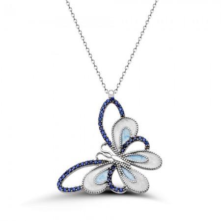 Tesbihane - 925 Ayar Gümüş Mavi Beyaz Mineli Kelebek Kolye