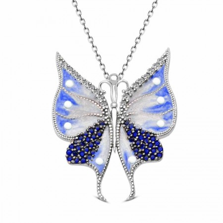 Tesbihane - Beyaz-Mavi Zirkon Taşlı Kelebek Tasarım 925 Ayar Gümüş Bayan Kolye