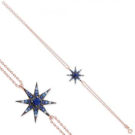 - 925 Ayar Gümüş Mavi Beyaz Taşlı 8 Yıldız Bileklik