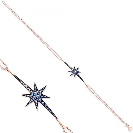 - Beyaz-Mavi Zirkon Taşlı Kuyruklu Yıldız 925 Ayar Gümüş Bayan Bileklik