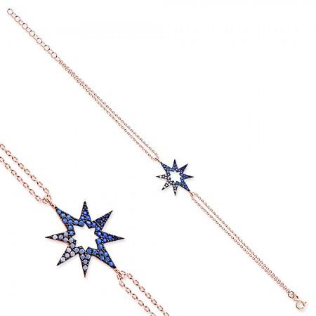 - 925 Ayar Gümüş Mavi Beyaz Taşlı Yıldız Bileklik