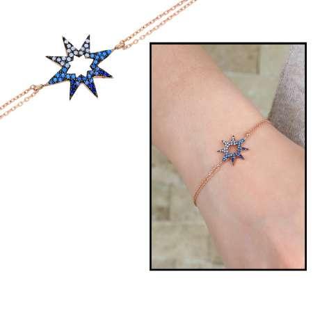 Tesbihane - Zirkon Taşlı Yıldız Tasarım 925 Ayar Gümüş Bayan Bileklik