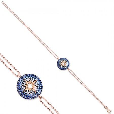 - 925 Ayar Gümüş Mavi Beyaz Taşlı Yuvarlak Yıldız Bileklik
