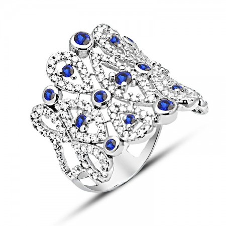 - 925 Ayar Gümüş Mavi Beyaz Zirkon Taşlı Yüzük