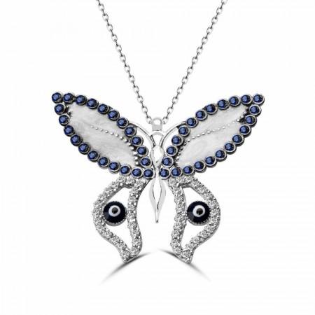 - 925 Ayar Gümüş Mavi Gözlü Kelebek Kolye