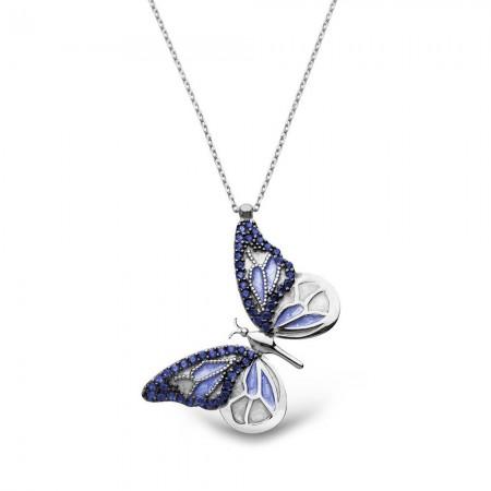 Tesbihane - Mavi Zirkon Taşlı Kelebek Tasarım 925 Ayar Gümüş Bayan Kolye