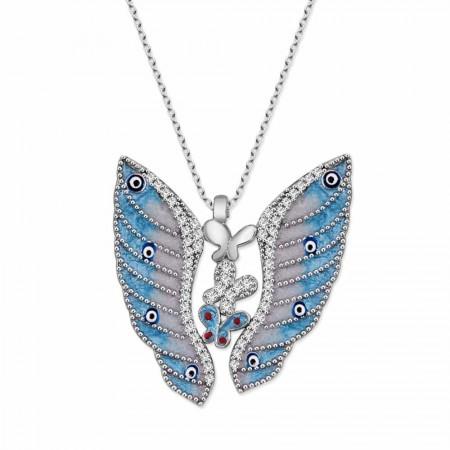 - 925 Ayar Gümüş Mavi Kelebek Tasarım Kolye