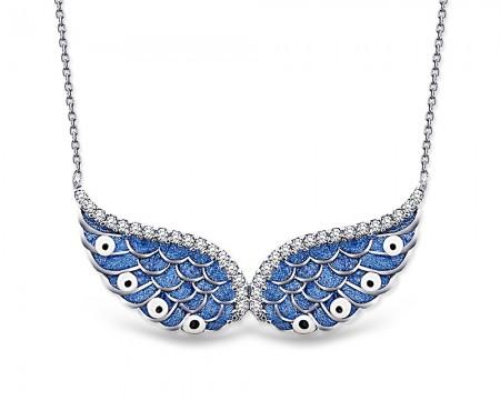 Tesbihane - 925 Ayar Gümüş Mavi Melek Kanadı Kolye