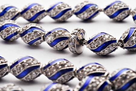 Tesbihane - 925 Ayar Gümüş Mavi Mine Kaplamalı Zirkon Taşlı Tesbih