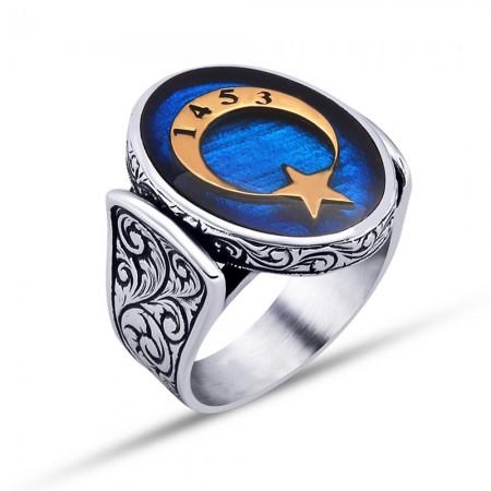Tesbihane - 925 Ayar Gümüş Mavi Mine Üzerine 1453 Yazılı Ay Yıldız Yüzük