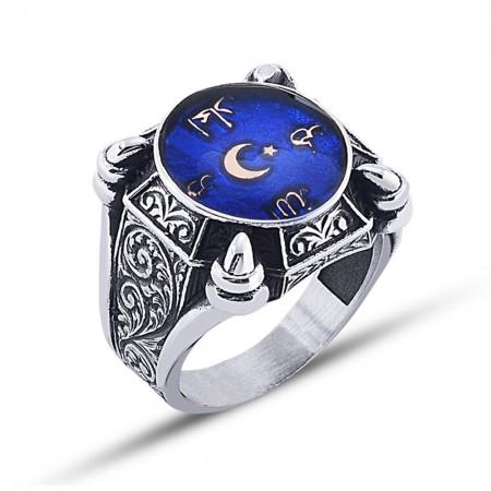 Tesbihane - 925 Ayar Gümüş Mavi Mine Üzerine Arapça Yazılı ve Ay Yıldız Temalı Yüzük