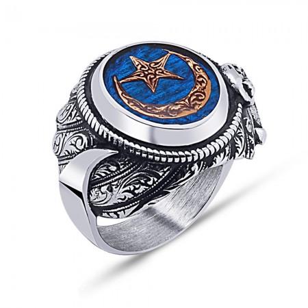 Tesbihane - 925 Ayar Gümüş Mavi Mine Üzerine Ay Yıldız Desen Hançer Tasarım Yüzük