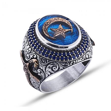 Tesbihane - 925 Ayar Gümüş Mavi Mine Üzerine Ay Yıldız Desen Yüzük Model 2