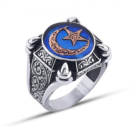 - 925 Ayar Gümüş Mavi Mine Üzerine Ay Yıldız Desen Yüzük Model 3