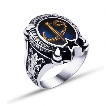 - 925 Ayar Gümüş Mavi Mine Üzerine Ayyıldız Model Elif Vav Harfli Yüzük