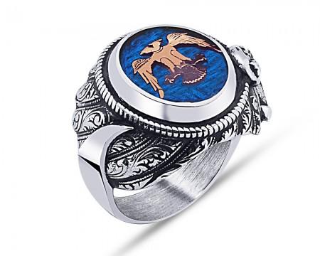 Tesbihane - 925 Ayar Gümüş Mavi Mine Üzerine Çift Başlı Kartal Desen Hançer Tasarım Yüzük