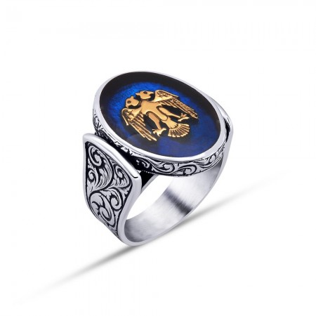 - 925 Ayar Gümüş Mavi Mine Üzerine Çift Başlı Kartal Desen Oval Yüzük